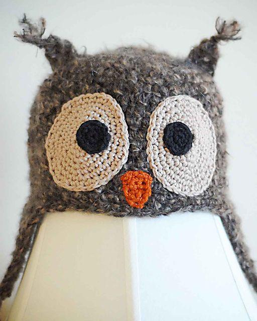 Owl Earflap Hat pattern by Adrienne Engar   Pinterest