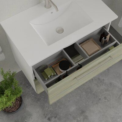 Photo of Ebern Designs Akadia 32″ Wall-Mounted Single Sink Bathroom Vanity Set Base Finish: Pine Wood, Hardware Finish: Silver