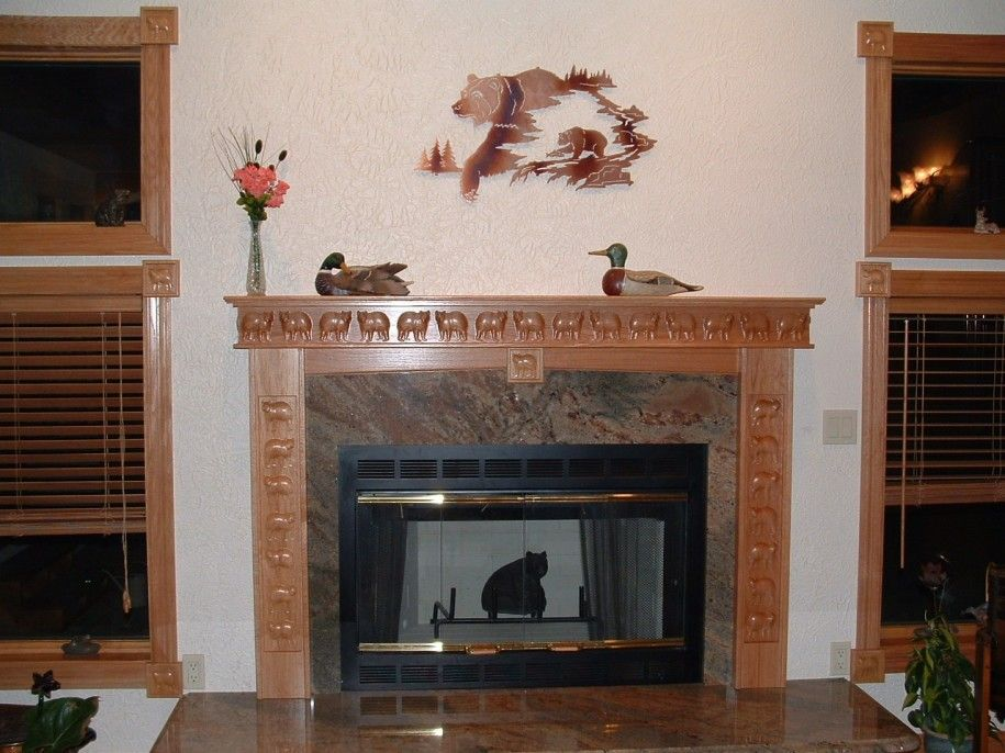 Perfect Fireplace Mantel Kits Decoration Ideas For Beautiful Interior: Funny Fireplace  Mantel Kits Bear Picture ~