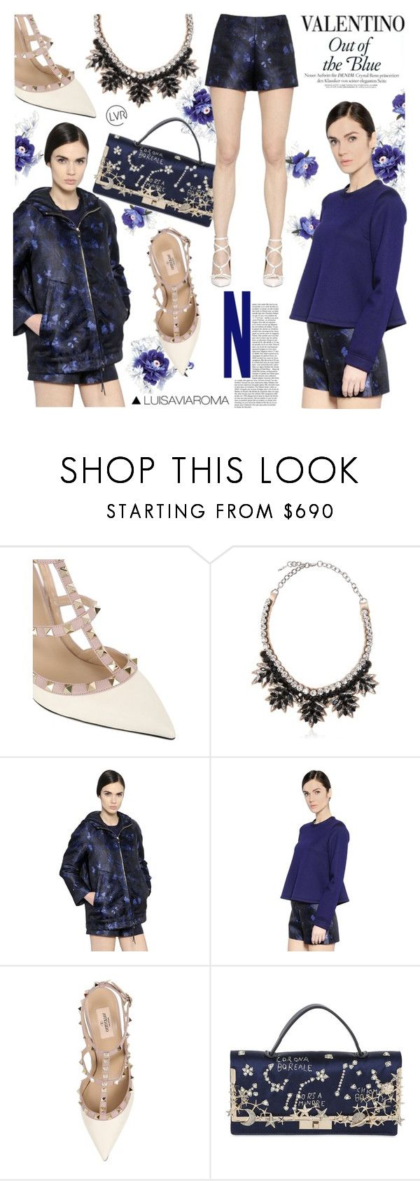 """Out of the Blue"" by luisaviaroma ❤ liked on Polyvore featuring Valentino, Blue, ROCKSTUD, luisaviaroma, lvr and Vaneltino"