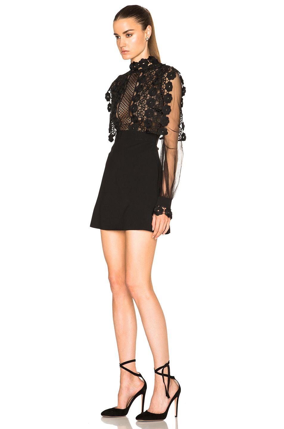 4ecd9853ae35 Image 2 of self-portrait Balloon Sleeve A Line Mini Dress in Black ...