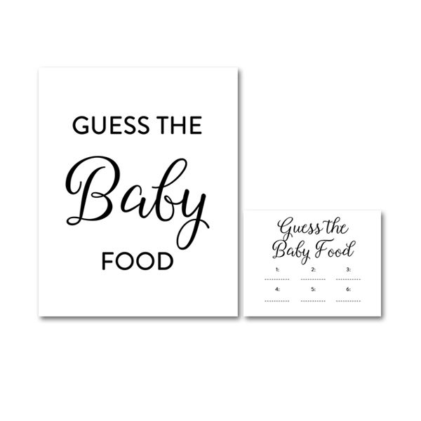 picture relating to Guess the Baby Food Game Free Printable titled No cost Printable Child Shower Stylish Easy Black and White