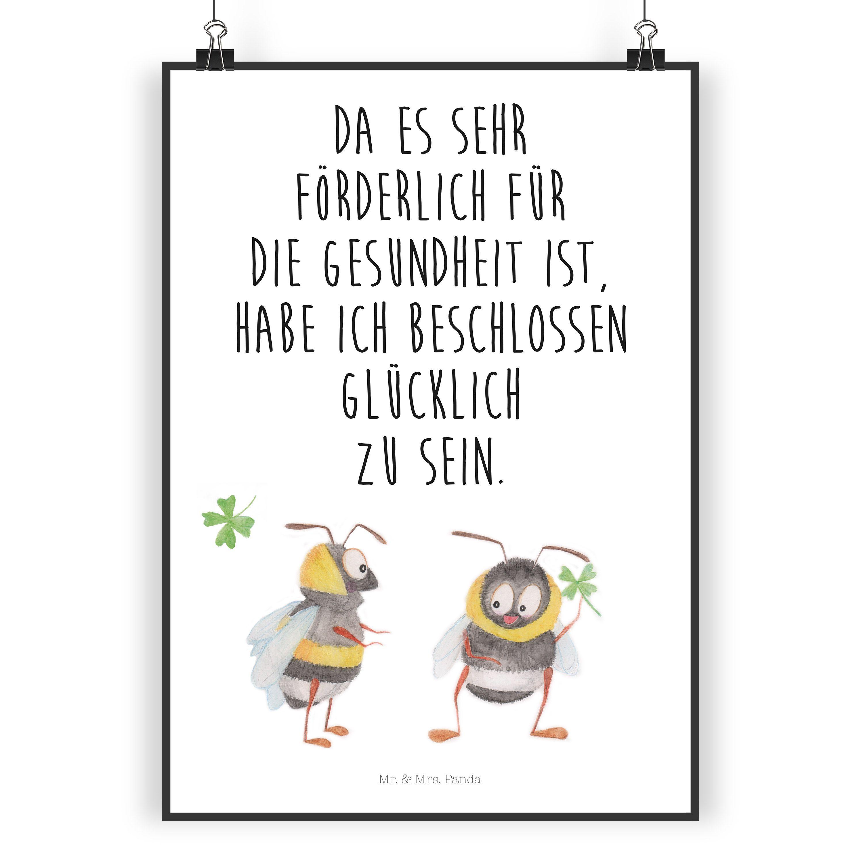 """Poster DIN A3 Hummeln mit Kleeblatt aus Papier 160 Gramm  weiß - Das Original von Mr. & Mrs. Panda.  Jedes wunderschöne Poster aus dem Hause Mr. & Mrs. Panda ist mit Liebe handgezeichnet und entworfen. Wir liefern es sicher und schnell im Format DIN A3 zu dir nach Hause.    Über unser Motiv Hummeln mit Kleeblatt  Unsere beiden süßen Hummeln sind aus unserer """"Small World"""" - Kollektion.    Verwendete Materialien  Es handelt sich um sehr hochwertiges und edles Papier in der Stärke 160 Gramm…"""