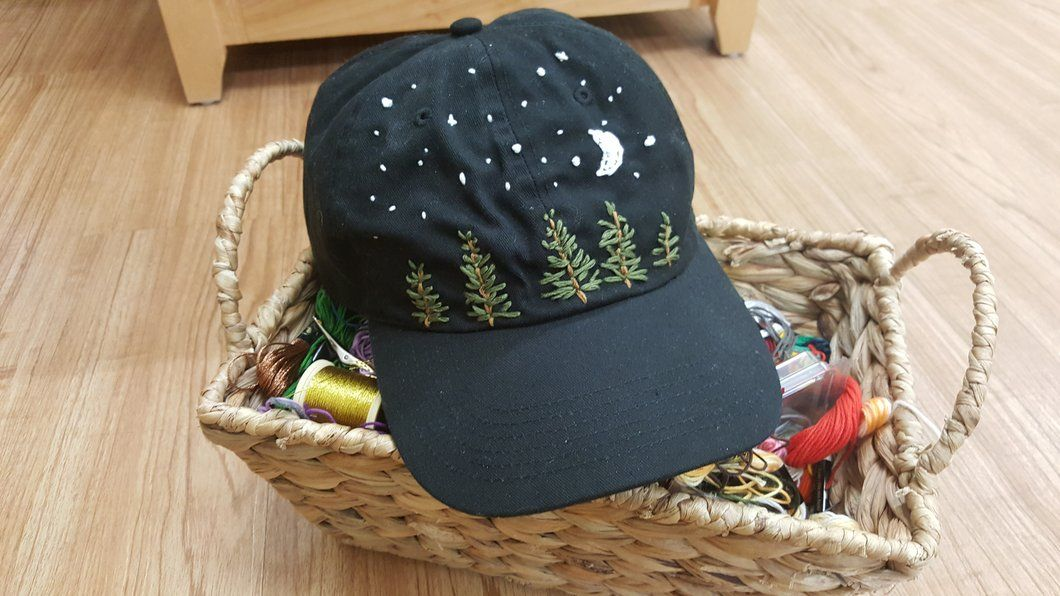 Pine Trees And Stars Hand Embroidered On An Adjule Hat