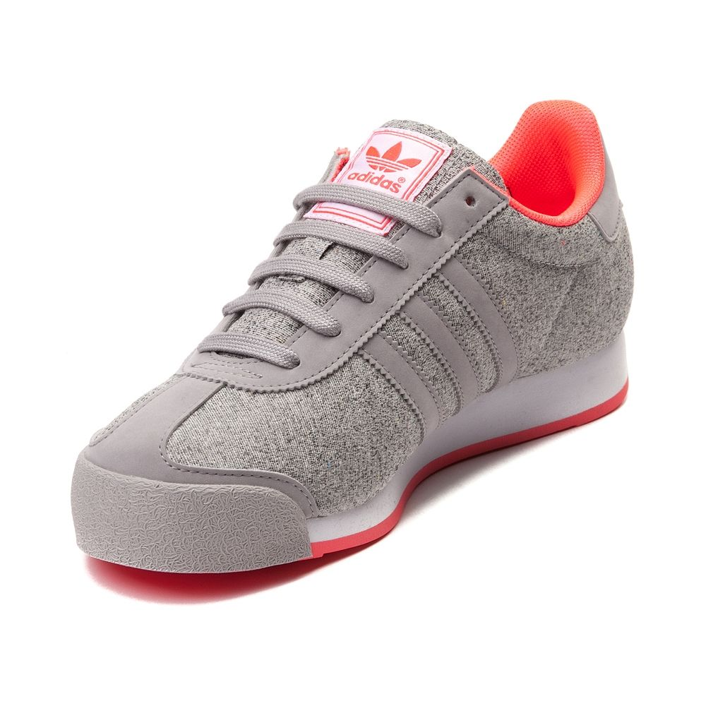 gray and pink adidas samoa