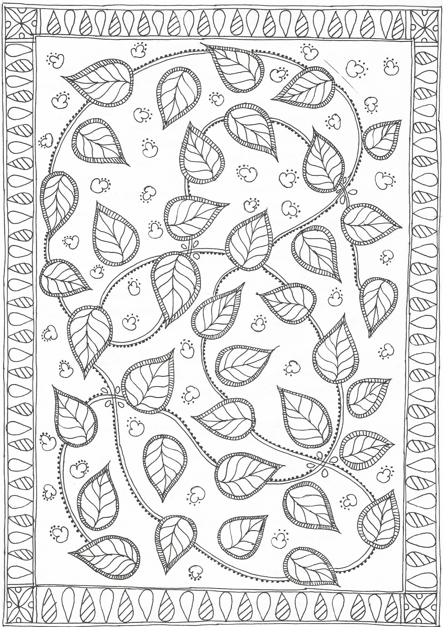 Madhubani Coloring Page Of Leaves Star Coloring Pages Flower