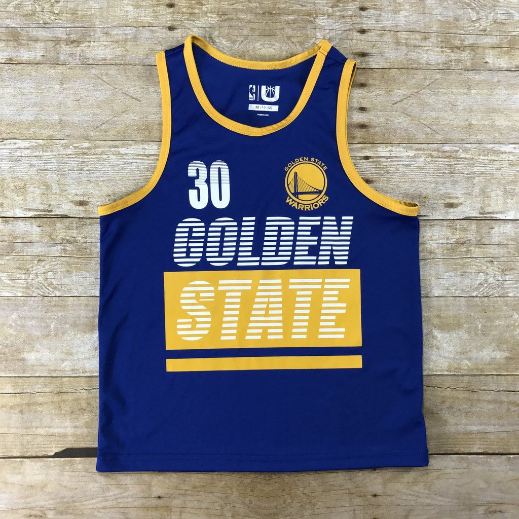 7946e3cc ... shopping sale nba golden state warriors blue gold 30 steph curry jersey  tank top youth size