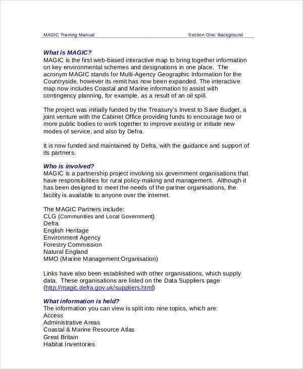 training manual templates 15 free printable word pdf