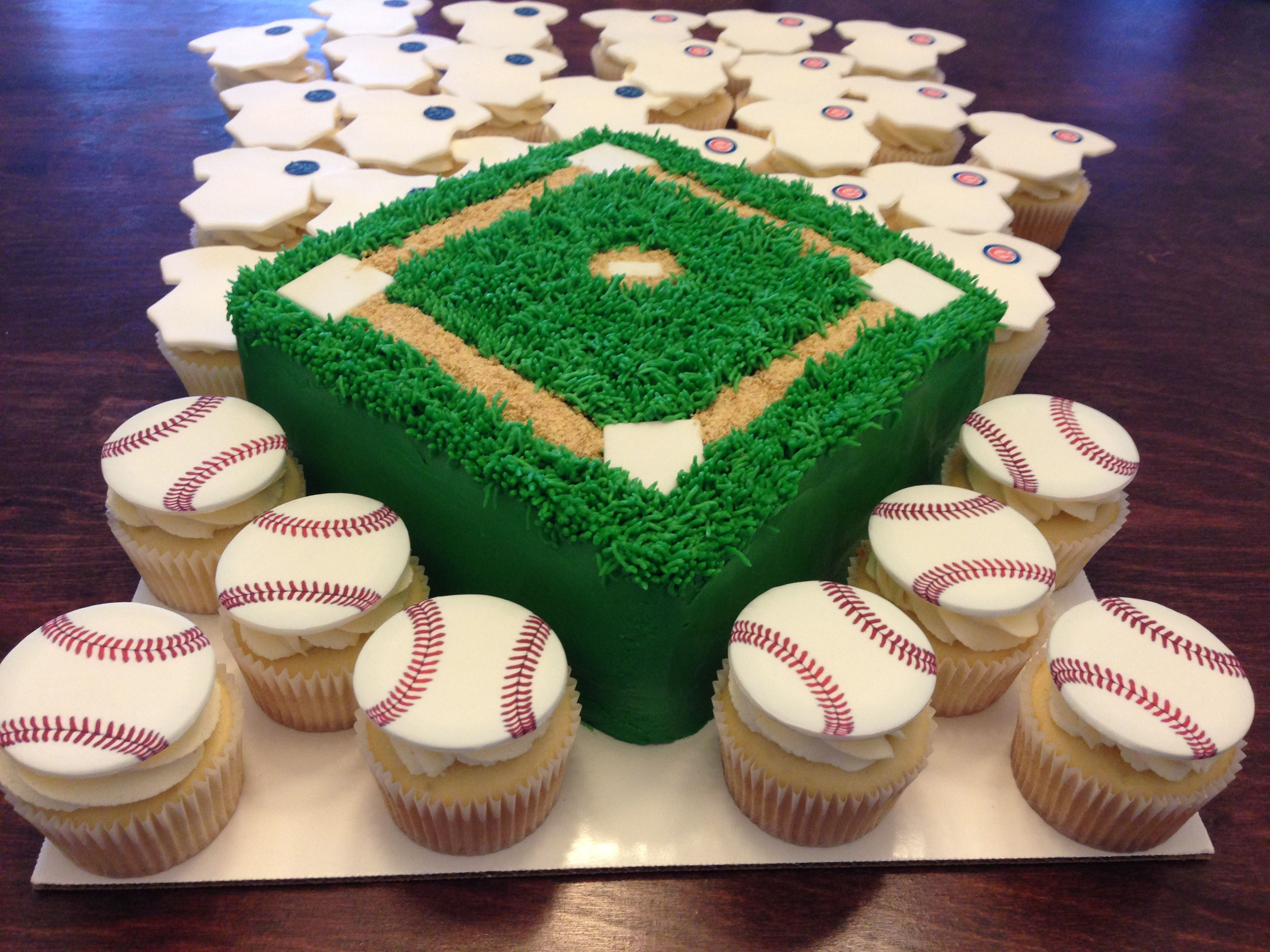 Baseball diamond cake and baseball and onesie cupcakes I made