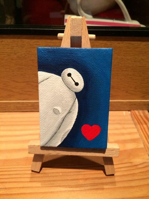 Miniature Baymax Acrylic Painting On Easel From Big Hero 6 Disney