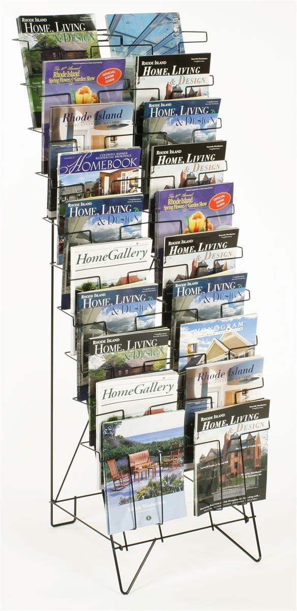 10 Tiered Wire Literature Stand For Floor 20 Pockets For Magazines Header Black Magazine Rack Magazine Display Rack Display Storage