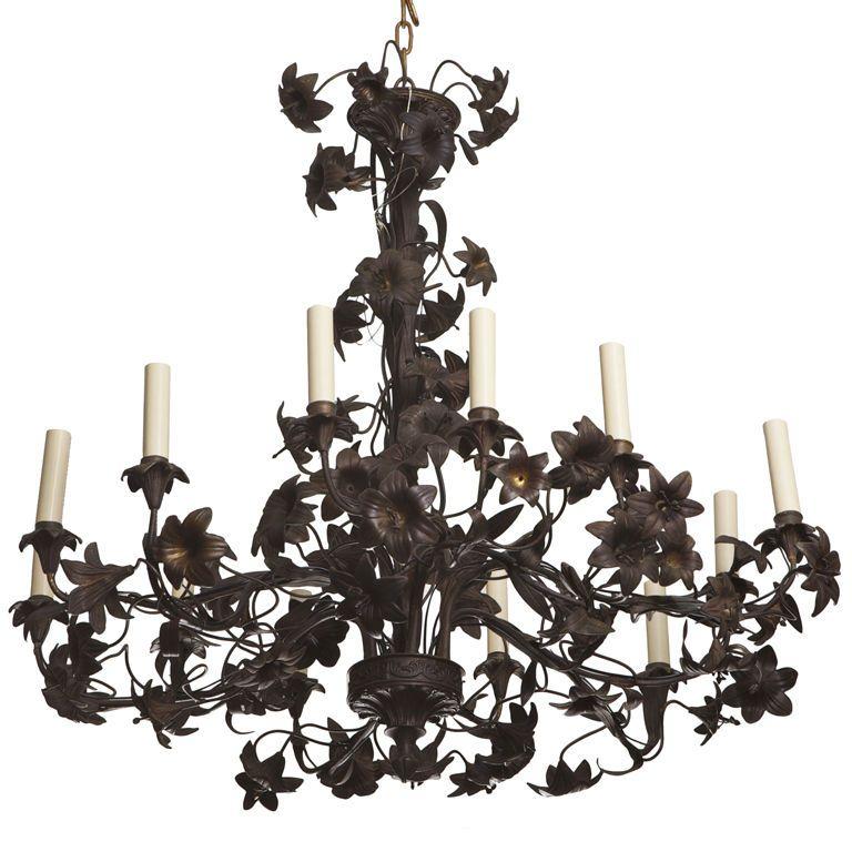 Large French Black Tole Chandelier - Large French Black Tole Chandelier Chandeliers, Pendant Lighting