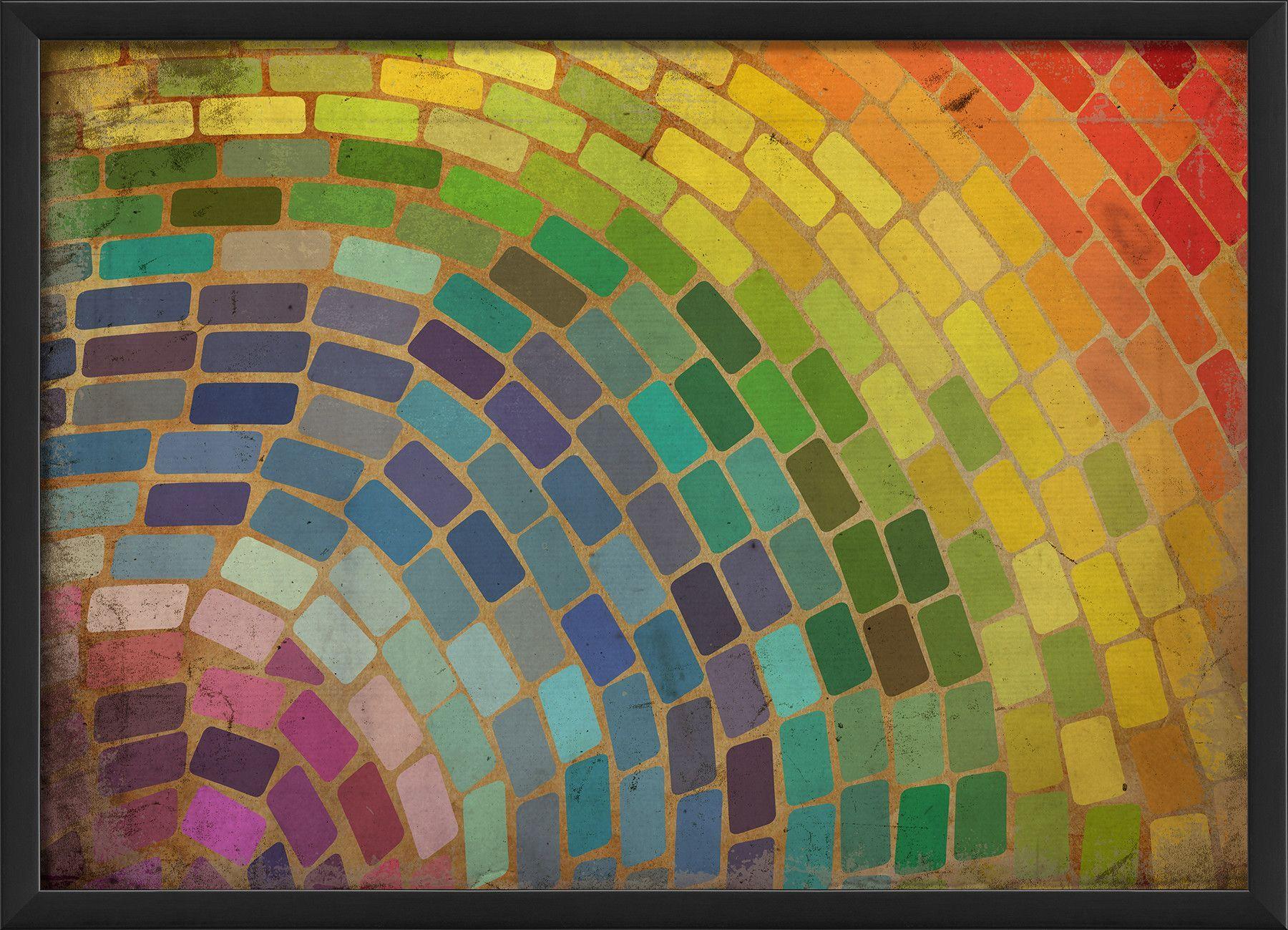 The Artwork Factory Rainbow Mosaic Framed Graphic Art Rainbow Mosaic Optical Illusion Quilts Art
