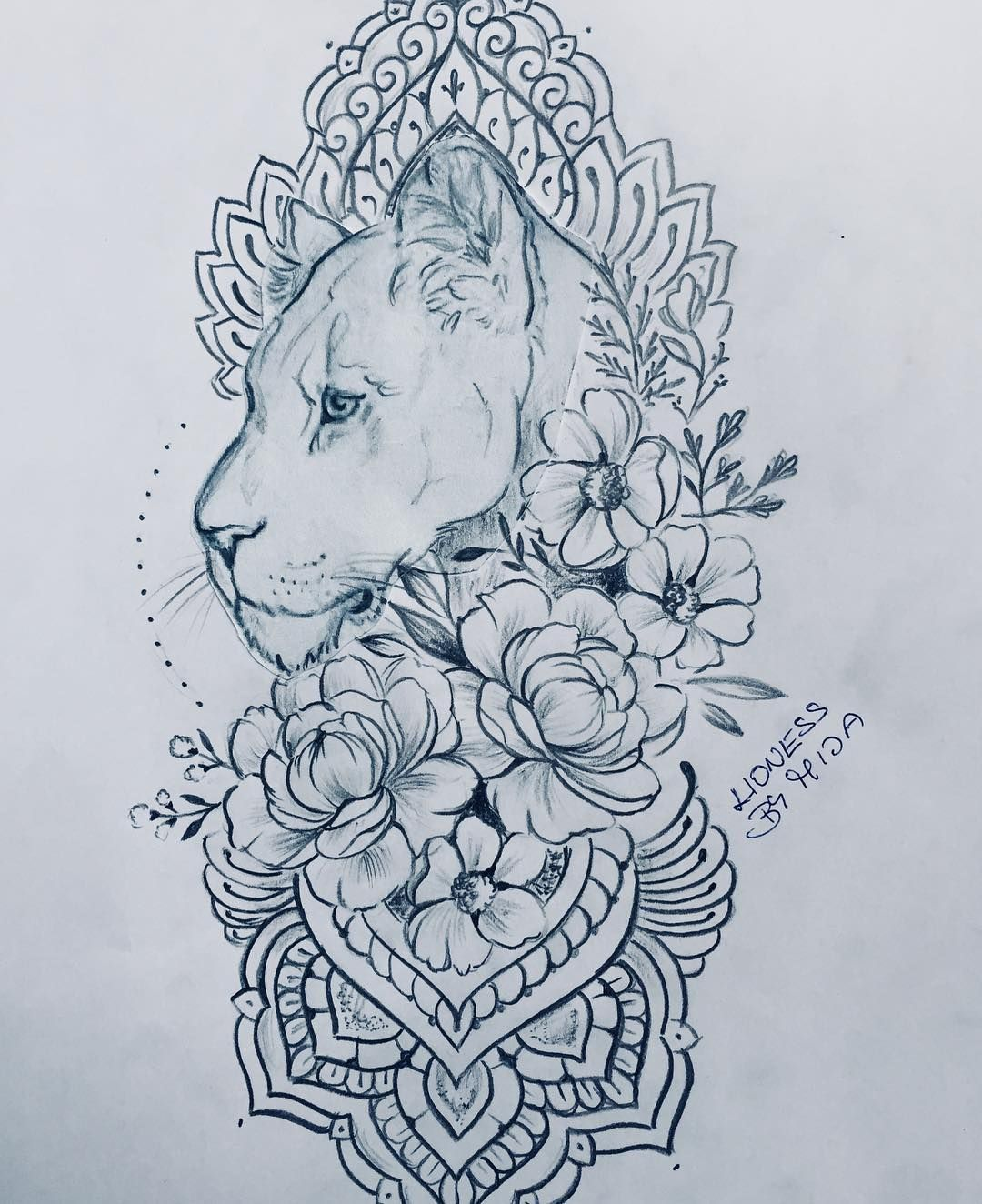 "Tattoo Mija on Instagram: ""Lvice a kvetiny. Lioness and flowers"