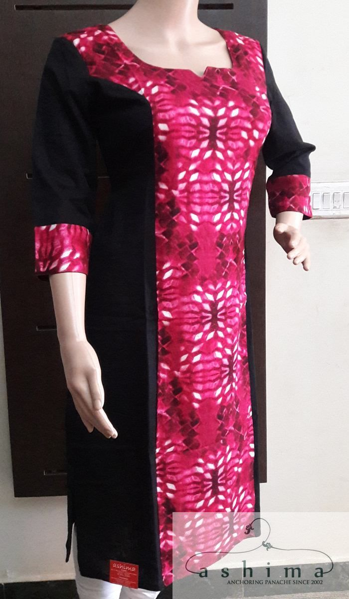 Dress code baby pink  Code  Price INR  Printed Cotton Kurti  longue robe