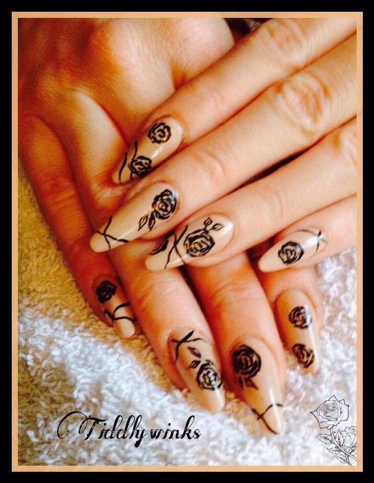 Hand Painted Black Rose Nail Art Acrylic Nails Pinterest Rose