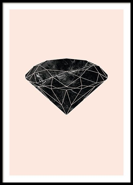 Poster Of A Graphic Diamond With A Marble Pattern On A Pink Background A Very Nice Design That Fits Both A Colorful And M Kids Poster Graphic Monochrome Decor
