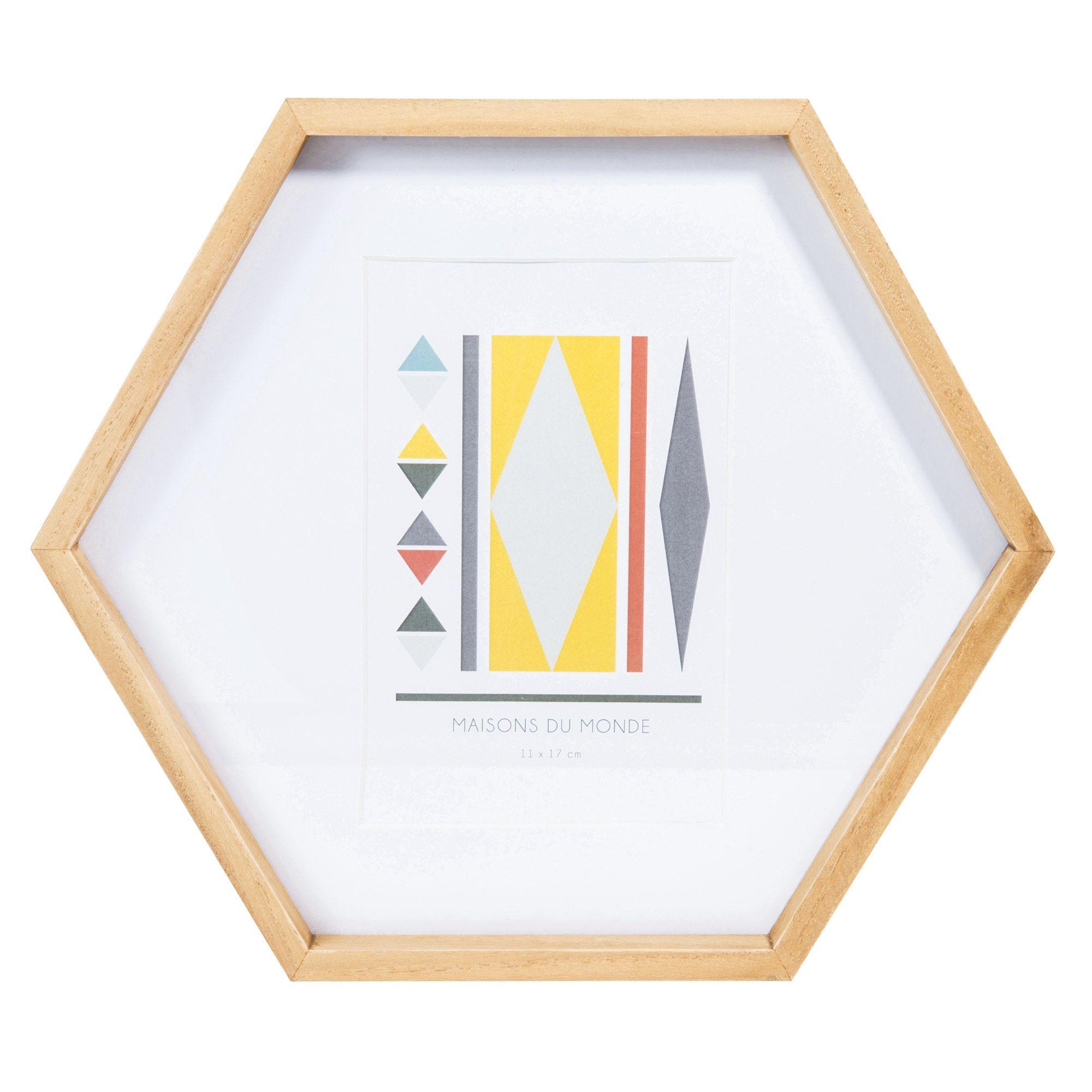 Cornice foto esagonale in legno 26 x 30 cm VINTAGE