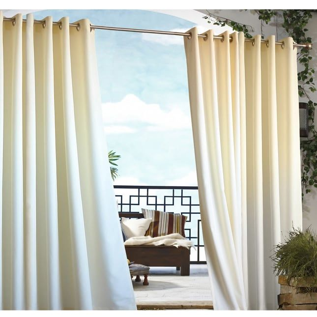 Grommet Top Indoor Outdoor Curtain Panel White 96 Inch Polyester