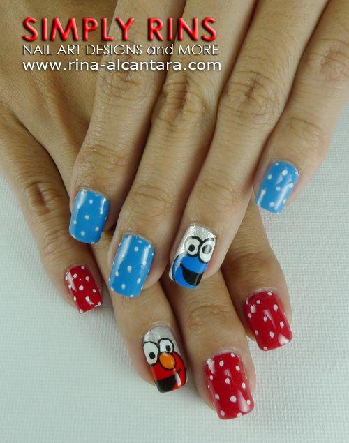 Elmo & Cookie Monster nails. | Nails | Pinterest | Uña decoradas ...