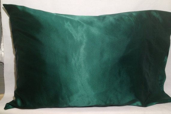 Satin Pillowcase For Hair Entrancing Emerald Satin Pillowcaseayegirlsdream On Etsy  The Pillowcase Design Decoration