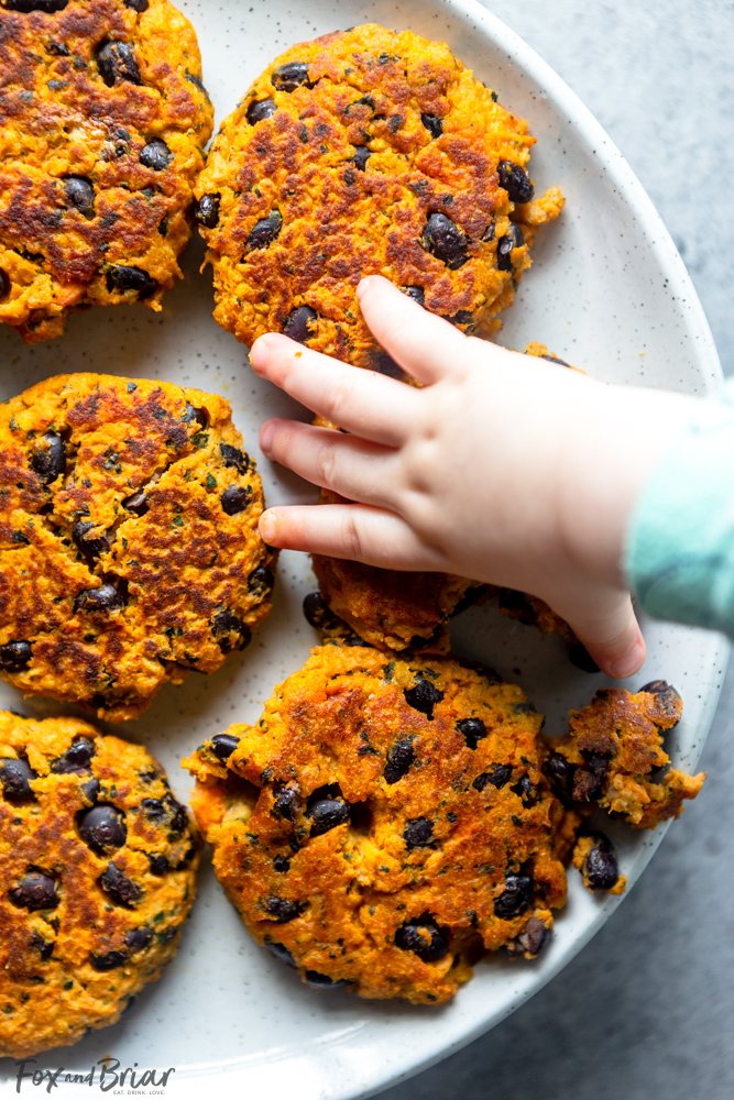 Sweet potato, Kale and Black Bean Patties for Babies and