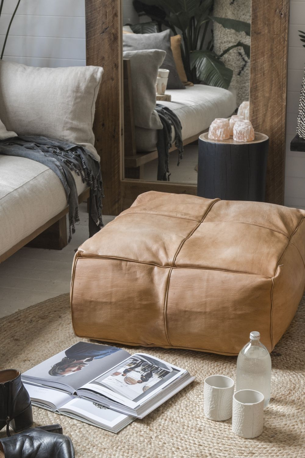 Moroccan Leather Pouf Design Sit Down Pinterest Leather The Big Papa Square Leather Ottoman Light Tan Live Pinterest