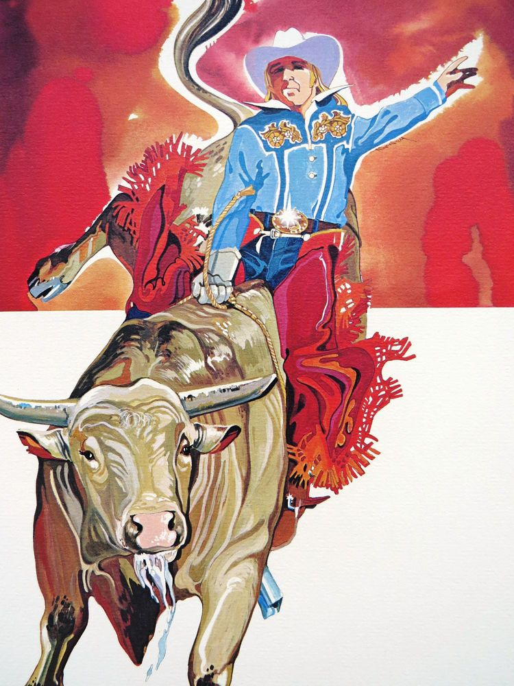 1977 Rodeo Lithograph - BULL RIDER - Nat'l Finals Rodeo Hesston Corp NOS #WesternMotif