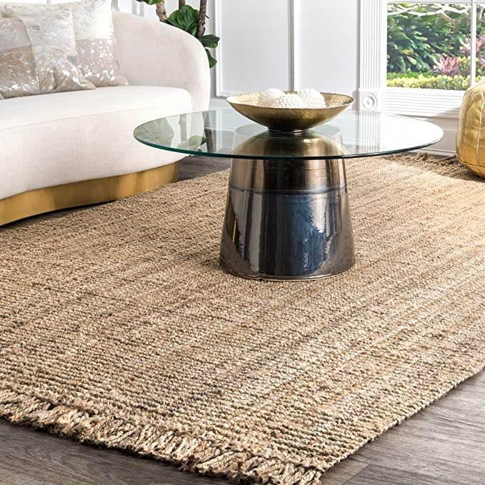 150 Amazon Com Nuloom Natura Collection Chunky Loop Jute Rug 7 6 X 9 6 Natural Home Kitchen In 2020 Jute Area Rugs Natural Area Rugs Natural Rug