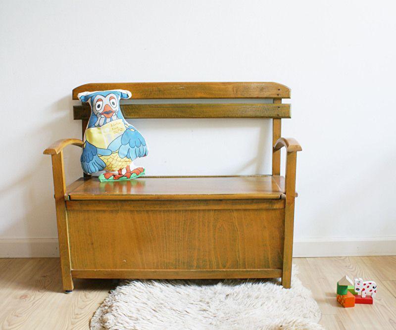 Vintage Houten Klepbank.Houten Retro Kinder Klepbank Vintage Opberg Bank Voor Kids
