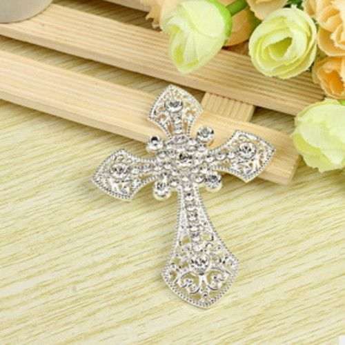 CROSS Rhinestone Silver Alloy Cell Phone Decoration Flatback Decoden (EPDB1186)