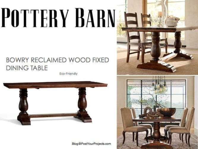 Pottery Barn Bowry Reclaimed Wood Dining Table Design Ideas For - Pottery barn reclaimed wood dining table