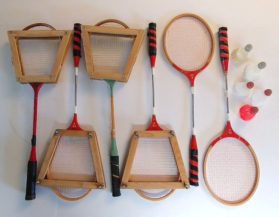 Lot 6 Vintage Gold Cup Hi Spede Badminton Framed Racquet Racket Shuttlecocks Set #GoldCup