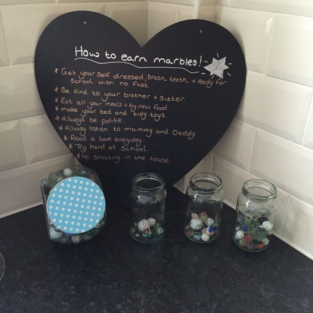Marble Reward Chart Marble Reward System Once The Jars Are Full They Get To Pick A Treat And Then Start Kids Rewards Reward System For Kids Reward Chart Kids