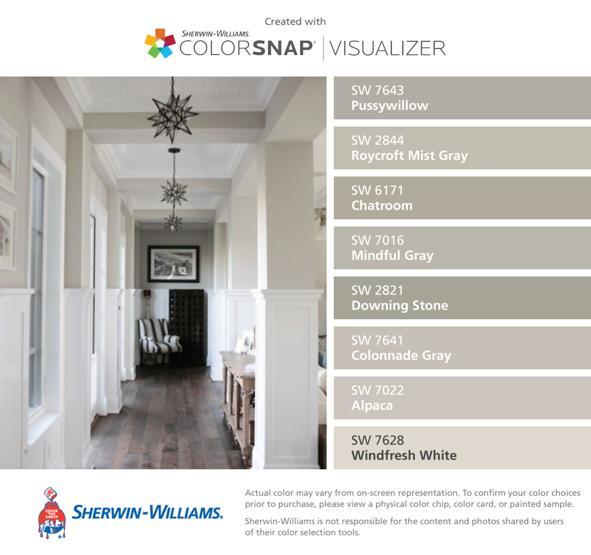 Sherwin williams popular greys - I Found These Colors With Colorsnap Visualizer For Iphone By Sherwin Williams Pussywillow