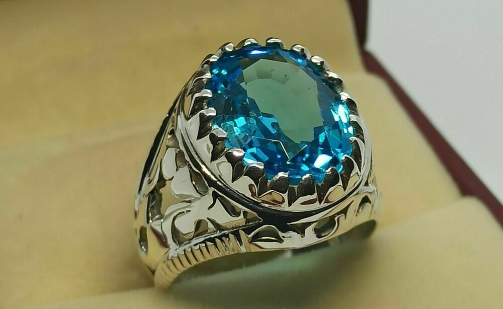 turkish jewelry mens ring,blue topaz  rings,mens gift,father gift men jewelry silver,,mens ring