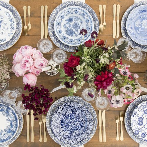 RENT: Blue Fleur de Lis Chargers + Blue Garden Collection Vintage China + Chateau Flatware in Matte Gold + Czech Crystal Stemware