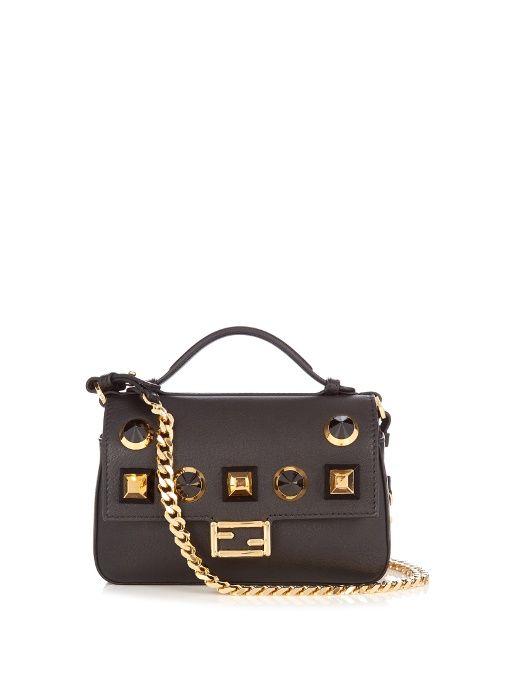 8ada18b231d9 Fendi Double Micro Baguette embellished cross-body bag Leather Crossbody