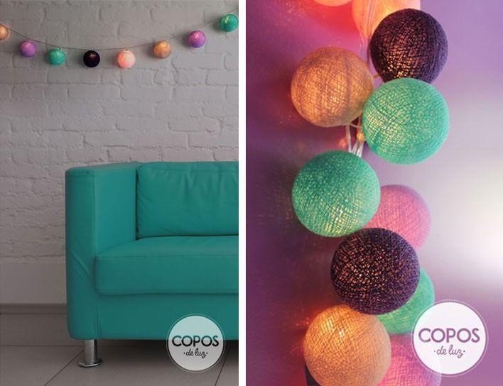 Guirnalda de luces bolas de hilo y luz artesanales - Bolas de hilo ...
