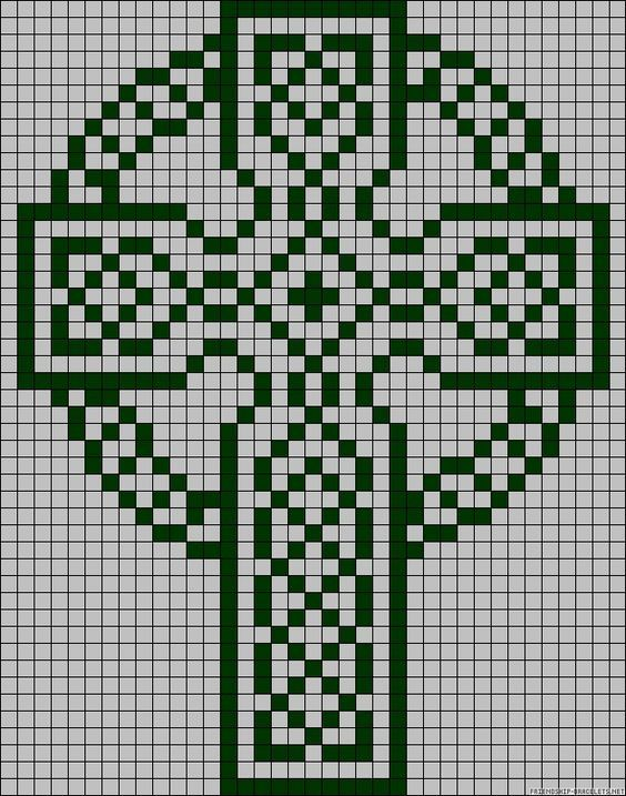 Celtic Cross Grid Pattern Filet Crochet Christian Cross