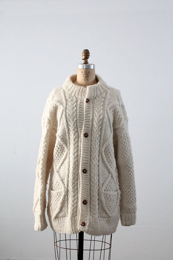 vintage chunky knit cardigan / long cream sweater by 86Vintage86 ...
