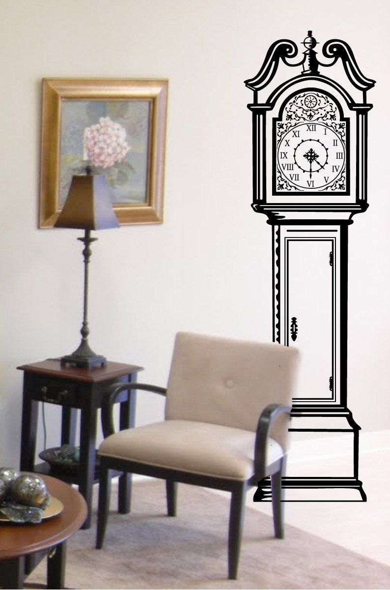 Deer head wall decal option a modern wall decals by dana decals - Antique Grandfather Clock Chair Vinyl Wall Decal Large Size Options And Colors