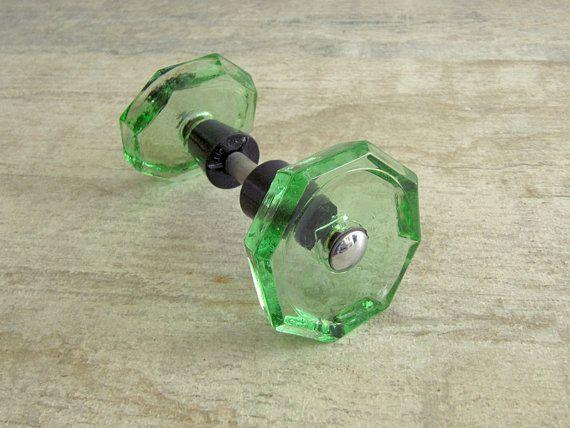 Green Glass Door Knob - Soviet vintage - octagon door handle ...