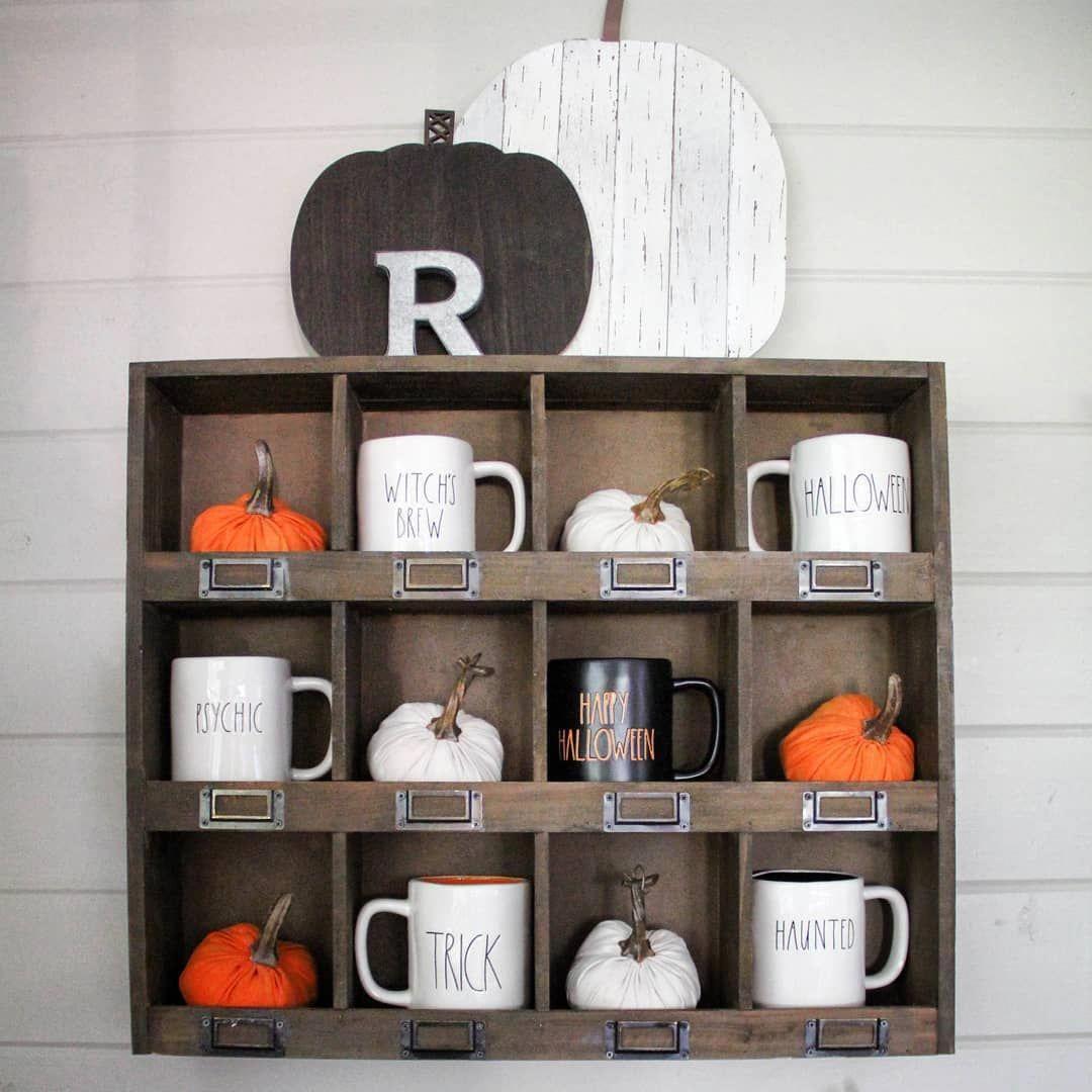 Rae Dunn Halloween Display with Target Dollar Spot items