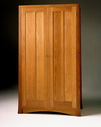 Mission Style Armoire or Arts and Crafts Wardrobe pictured in natural white  oak. - Simple (but Not Inexpensive) Arts & Crafts Wardrobe...handmade