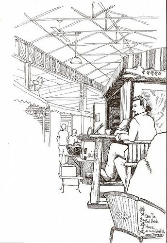 Red House Drawing: Afternoon Tea In Kam Tin Red Brick House