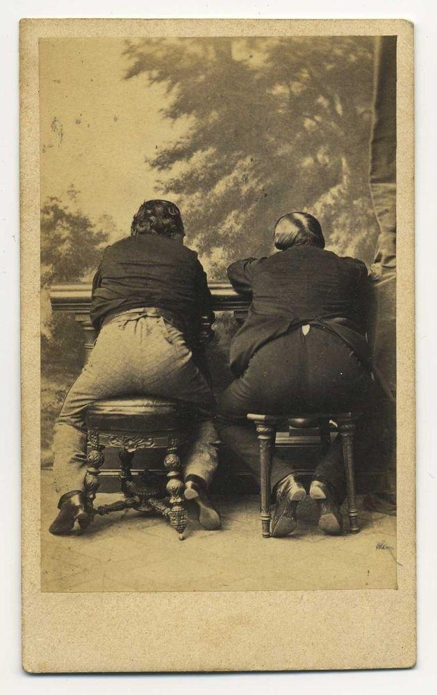 Carte De Visite 1860s UNIQUE TRICK PHOTO CDV OF 2 MEN WITH FACES ON FRONT AND BACKSIDES BACK