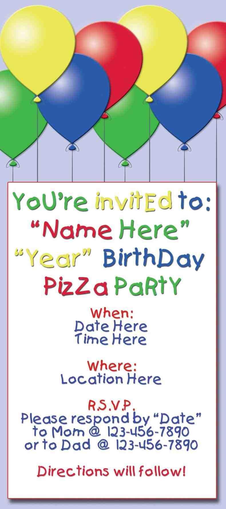 berdon\'s 4th birthday party. balloon invitation front. full size of ...