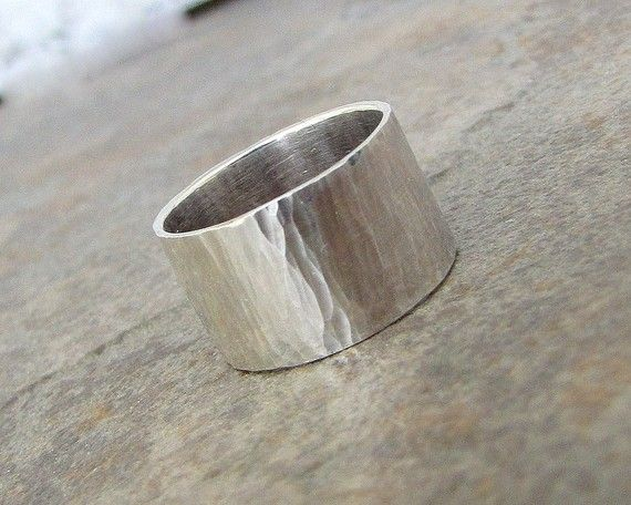 Silver Hammered Ring Wide Wedding Band Rustic Waterfall On Etsy
