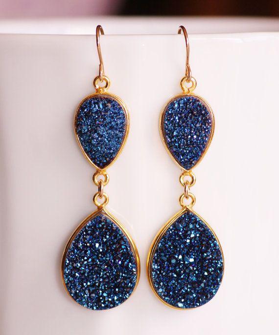 Genuine Shire Navy Blue Druzy Gemstone Earrings Chandelier Earring 14k Gold Bezel Drusy Drop Geode Natural Crystal Long